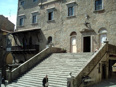 CORTONA  ITALY.  --- Steps  of  the  City  Hall  in  Piazza del  Republica.