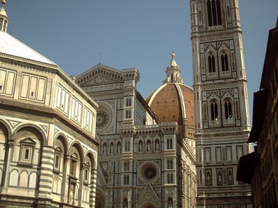 HISTORIC  FLORENCE  ITALY .--  Baptistry,  Front  Facade,   Dome ,  and  Bell  Tower.