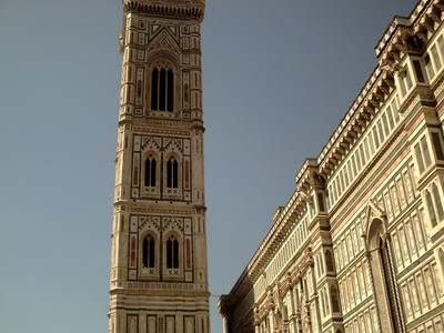 HISTORIC  FLORENCE  ITALY.  Campanile,  the  bell  tower.  The  marble  panals are green, pink, white  and  black.