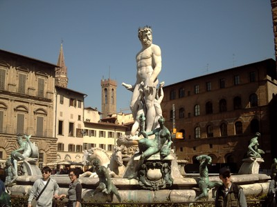 HISTORIC  FLORENCE  ITALY. --  Statue of Neptune with  monsters  and  nymphs.