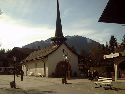 GSTAAD  SWITZERLAND.-- St. Nicholas  Chapel, ( St.  Nikolaus  Kapelle ) built  in  1402  AD,  in  Promenade.