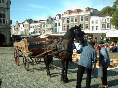 GOUDA  HOLLAND.   Cheese transported by horse and cart., also people.