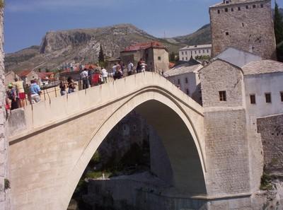 MOSTAR  BOSNIA  HERZEOGVINA..   Bridge  gets  busy  at  times.