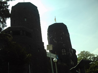 REMAGEN  GERMANY..     Towers of the Bridge of Remagen.   I visited the Peace Museum ,housed in the Towers.