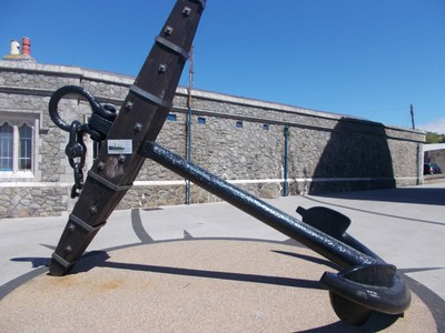 CAERNARFON  WALES UK.  5 Ton Anchor from HMS Conway ,launched as HMS Nile in 1839.  There is small Maritime Museum at Victoria Dock.