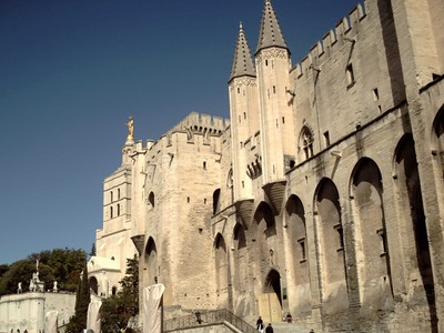 AVIGNON  FRANCE.-----Palais Des  Papes,  erected by Pope  Clement V in  1309  AD.  Seat of  power of  Popes for seventy  years, after they  left  the  Vatican  Rome.