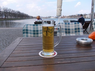 SCHWERIN  GERMANY.  I enjoyed a nice beer at a open air cafe at the end of the lake,.