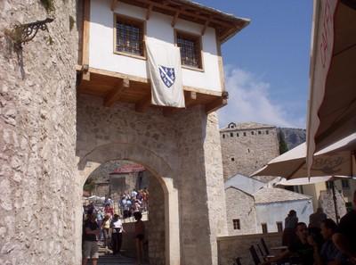MOSTAR,  BOSNIA HERZEGOVINA..  Gate way  of  bridge.