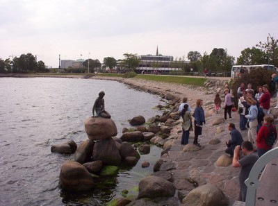 COPENHAGEN  DENMARK.    Tourists at the Little Mermaid statue.
