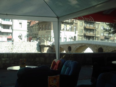 SARAJEVO.   View  from  cafe,  looking  across  the  river to  War  Museum,  with  Latin  bridge.