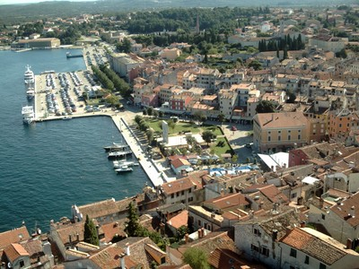ROVINJ  CROATIA..   View  from  top  of  tower , of  St  Euphemia  bell  tower.