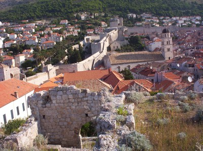DUBROVNIK  CROATIA.  The city wall can be seen ,across the middle of the photo.