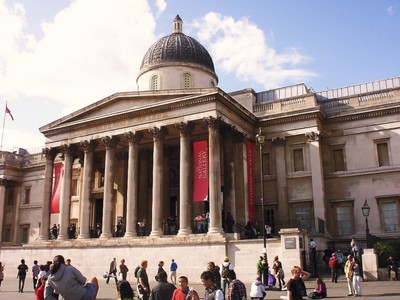 LONDON  ENGLAND --  National  Gallery. in Trafalgar  Square.  National  collection of  paintings from  13th  century.
