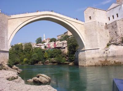 MOSTAR,BOSNIA  HERZEGOVINA --  Restored  bridge  from 2004.
