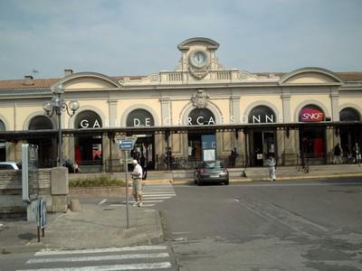 CARCASSONNE  FRANCE,  Railway  station.  trains to Toulouse, Perpignan, Paris,  Marseille