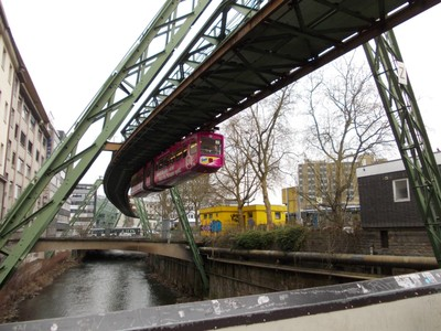 RAILWAY OVER RIVER WUPPER IN WUPPERTAL GERMANY