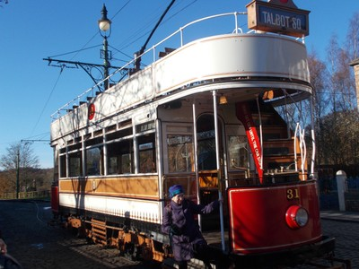 TRAM IN BEAMISH MUSEUM,DOES A CIRCULAR ROUTE AROUND MUSEUM . FARE INCLUDED IN ENTRY PRICE.