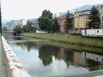 SARAJEVO.    The  river   Miljacko  flows  through  Sarajevo ,is  very  shallow with tiny  waterfalls.  A small  river  only 21km  long.