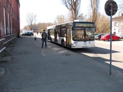 Bus at rail station Torun Poland