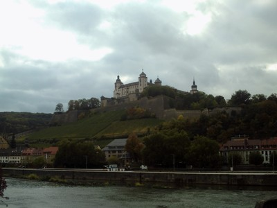 WURZBURG  GERMANY.   Marienberg Fortress on hill ,  the home of Prince-Bishops, for 500 years.