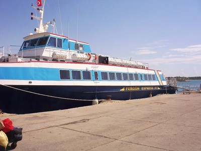 THE FERRY IN TASUCU FOR KYRENIA/GIRNE.,