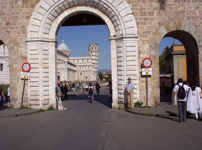 """PISA  ITALY.   Is the left road sign taking the """"mickey"""" ?"""