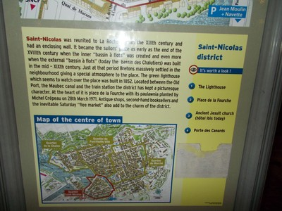 LA  ROCHELLE,  FRANCE.  One of the information boards around town.