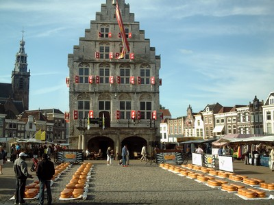 GOUDA  HOLLAND     Cheese Market in front of City Hall.