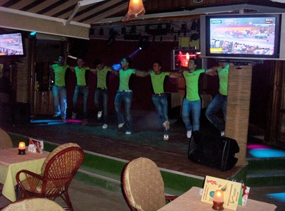 TURKEY  MARMARIS...  On stage , Waiters providing  entertainment in the evening.