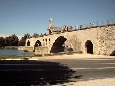 AVIGNON  FRANCE.   -- St Benezet  bridge over  the  river  Rhone,   Chapel  of  St. Nicolas on  bridge  between  2nd and  3rd  arch.
