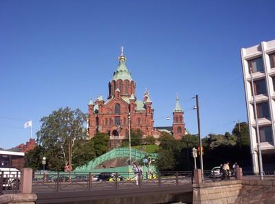 HELSINKI  FINLAND.    Uspenski Cathedral,  Eastern Orthodox  Church upon a hillside