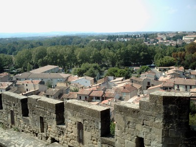 CARCASSONNE   FRANCE.  --   From the  castle  wall.  -- Plenty of  trees.