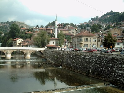 SARAJEVO.   Both  sides of  the  river  are  walkable.