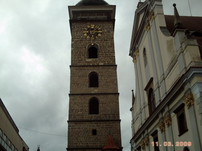 CZECH,  CESKY  BUDEJOVICE....Black  Tower  16th  century.   72m  high.  built 1553.  2 bells rung at noon.