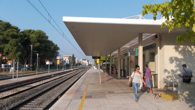 SALOU,  SPAIN.   --  Salou train station in 2014. --   Closed  13th  Jan  2020.-- New line opened that bypasses Town of Salou   Nearest station now  Port Aventura.