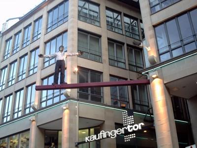 MUNICH,  GERMANY.  -- Don't  jump!  --its  a  dummy.