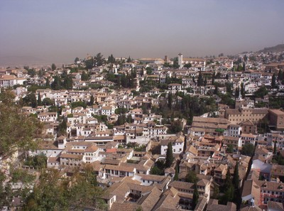 SPAIN  GRANADA... View of city from Alhambra  Palace.