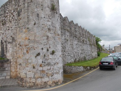 LLANES,  SPAIN.  Part of the surviving  Town Wall from  1206  AD...
