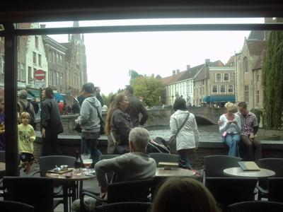 BRUGES  BELGUIM..     In Pub looking out towards Rozenhoedkaai.