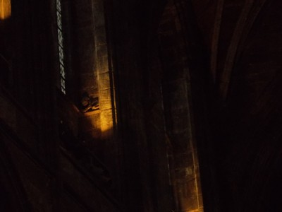 CHESTER CATHEDRAL. Carving of a diabolical figure,high up in the Nave.