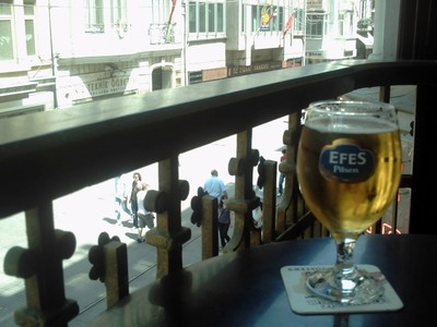 ISTANBUL  TURKEY..    Enjoying a beer on a balcony overlooking Yokusa.