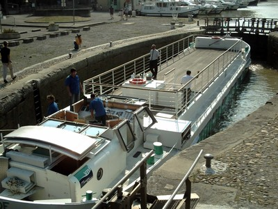 CARCASSONNE  FRANCE. --  Boat in Canal du  Midi  lock.