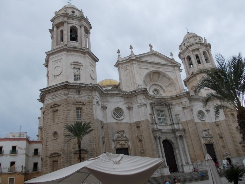 SPAIN  CADIZ.    Cathedral in main square.   Just see the gold dome.