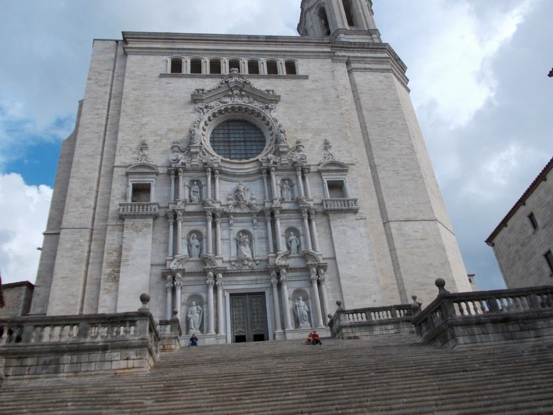 SPAIN  GIRONA. ---  Cathedral of Santa  Maria. up a flight of stairs.