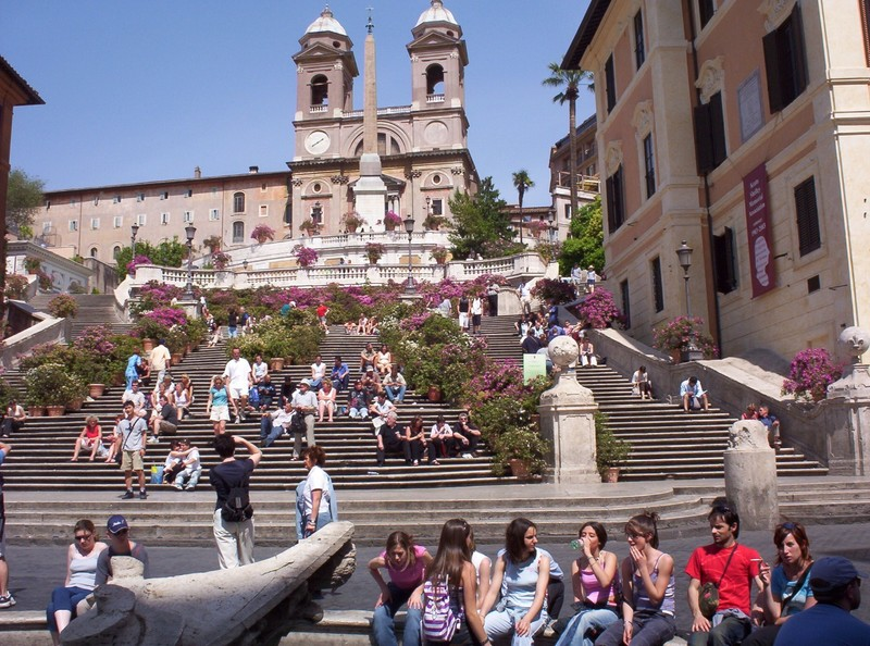 SPANISH STEPS ,  ROME ITALY.,  A place to sit on the steps.