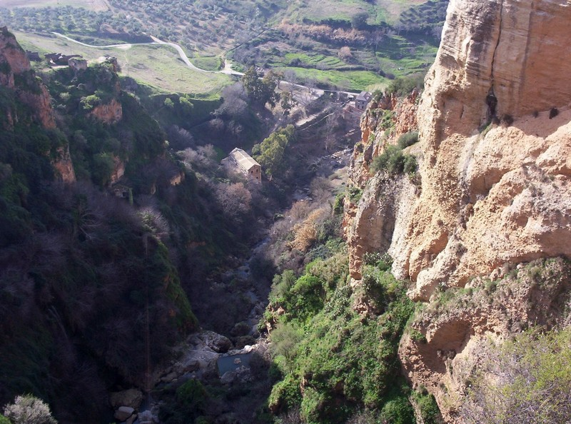 RONDA  SPAIN.  --  Gorge, 120 metre [390ft [  deep. viewed  from  top  of  Puente Nuevo  bridge.,  in middle  of  Ronda.