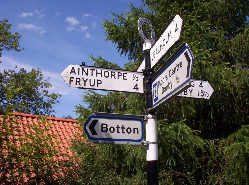 NORTH  YORKSHIRE  SIGN  POST.   ---To  Brits, a Fry Up, is breakfast of  Fried bacon,  eggs  , sausage etc.