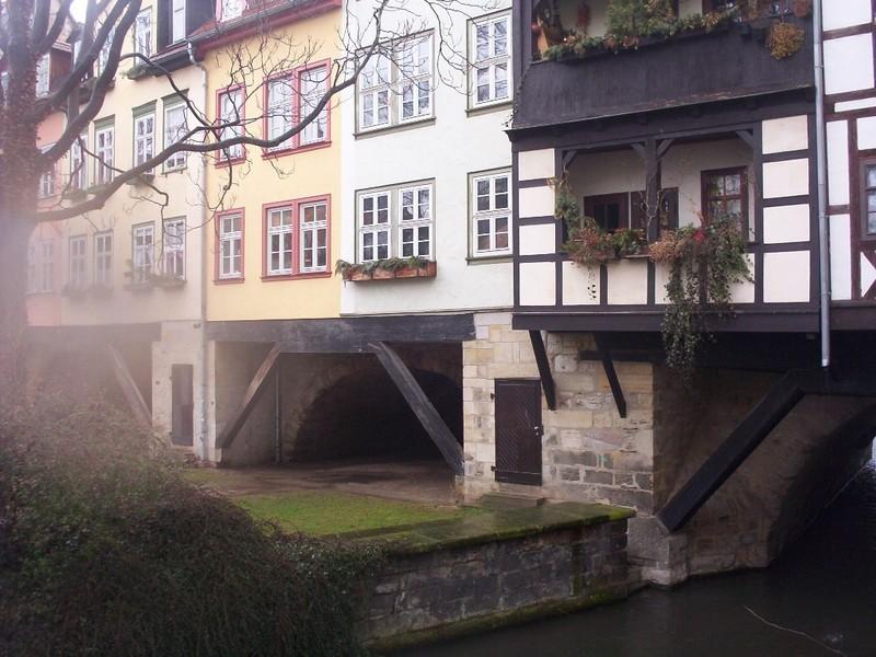 GERMANY  ERFURT.   The Kramerbrucke built in 1325  over the river Gera.