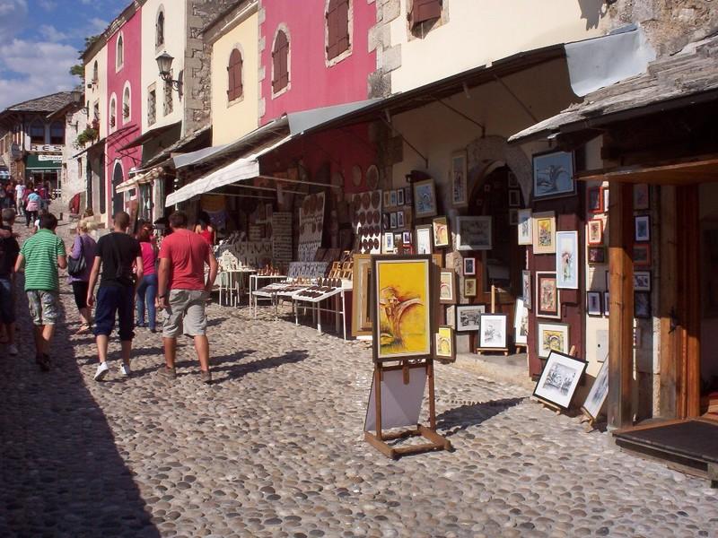 MOSTAR,  BOSNIA  HERZEGOVINA,,   Cobbled  main  street.