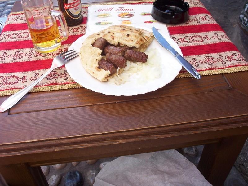 MOSTAR   BOSNIA  HERZEGOVINA.--  Cevapi ,  Lamb  and  Beef  in Bosnian  Pita  Bread  Envelope  with  onions.  Lovely.